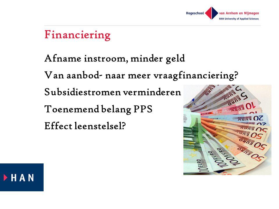 Financiering Afname instroom, minder geld