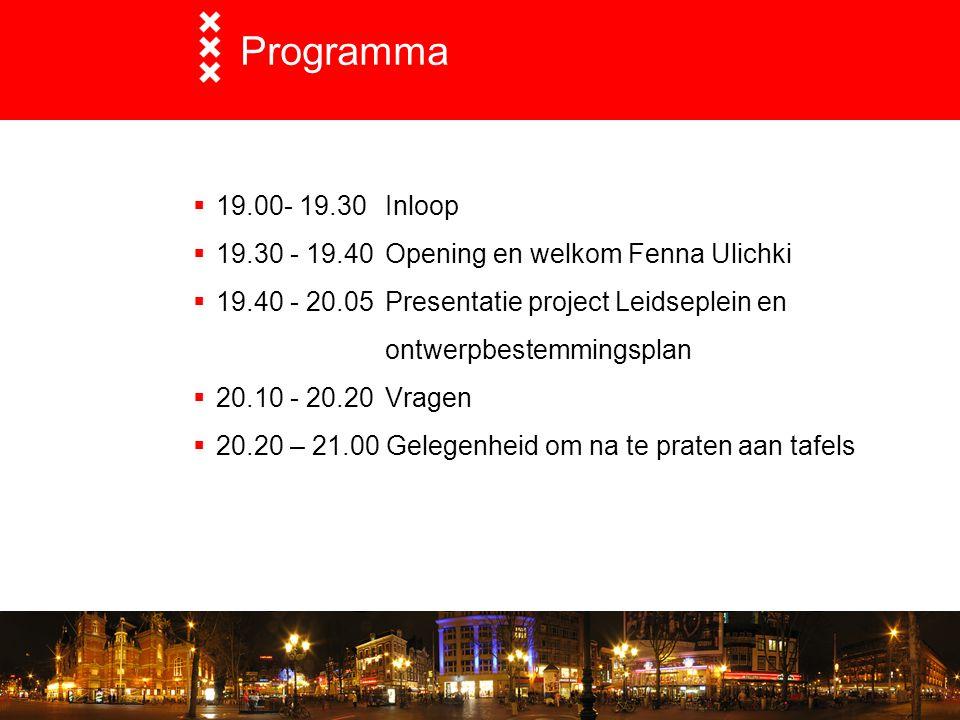 Programma 19.00- 19.30 Inloop. 19.30 - 19.40 Opening en welkom Fenna Ulichki.