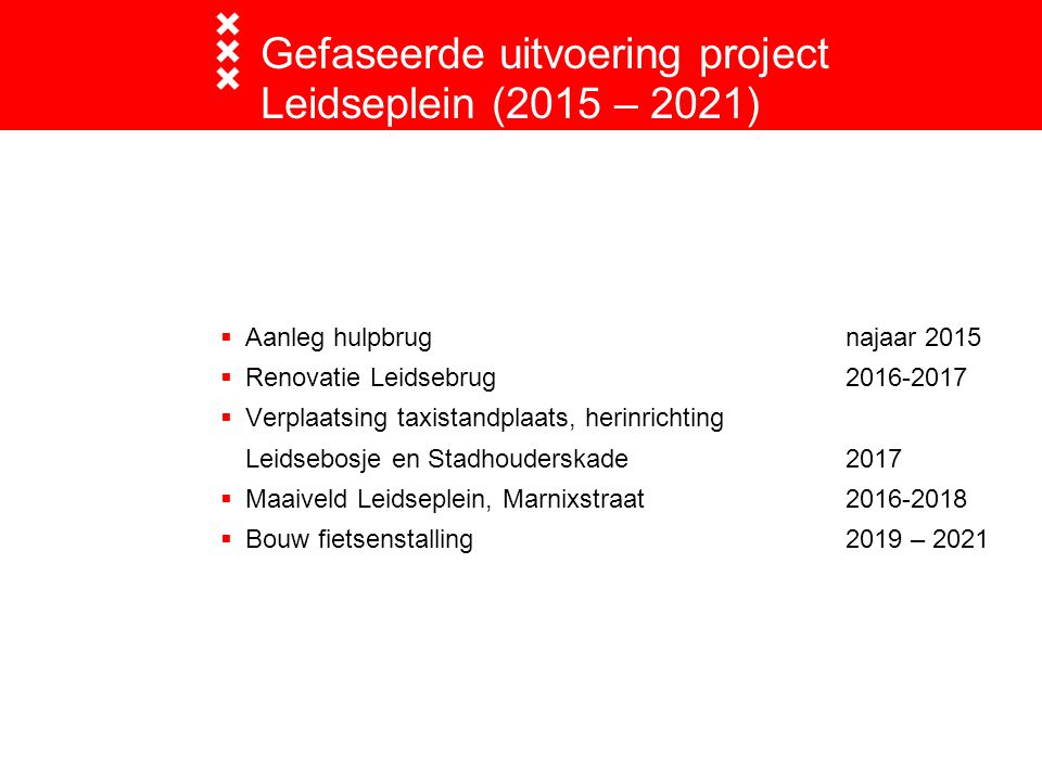Gefaseerde uitvoering project Leidseplein (2015 – 2021)