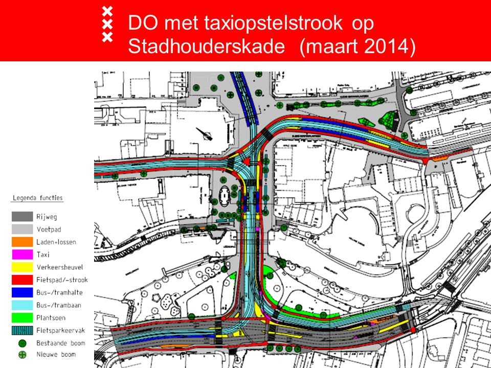 DO met taxiopstelstrook op Stadhouderskade (maart 2014)