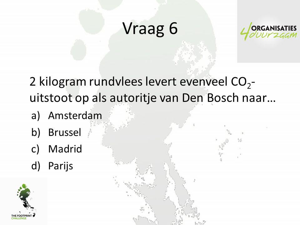 Vraag 6 2 kilogram rundvlees levert evenveel CO2-uitstoot op als autoritje van Den Bosch naar… Amsterdam.