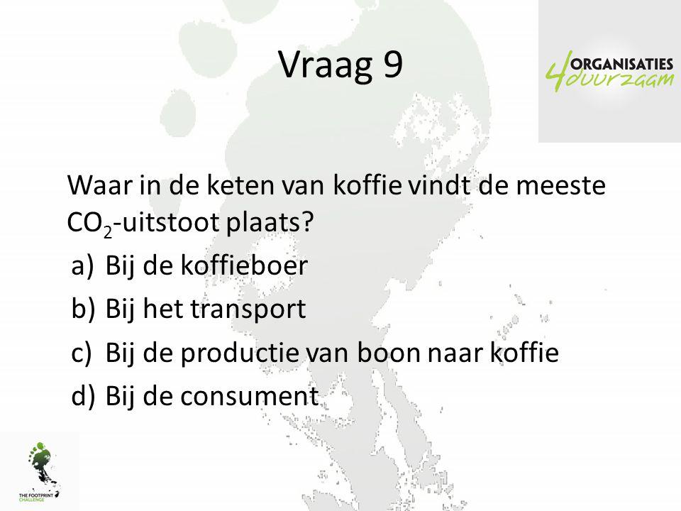 Vraag 9 Waar in de keten van koffie vindt de meeste CO2-uitstoot plaats Bij de koffieboer. Bij het transport.