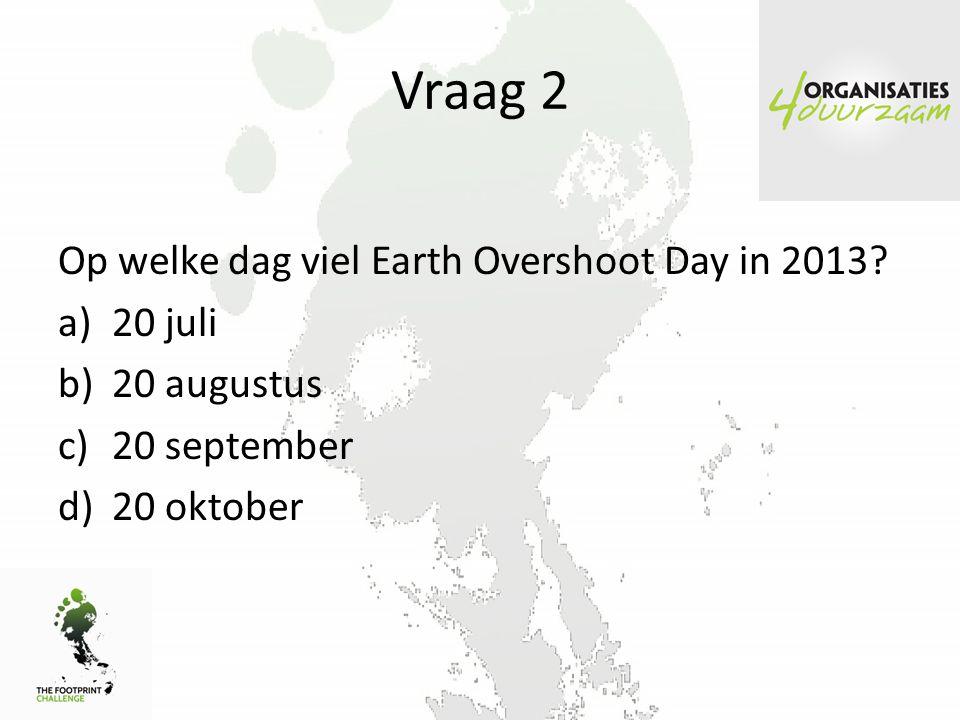 Vraag 2 Op welke dag viel Earth Overshoot Day in 2013 20 juli