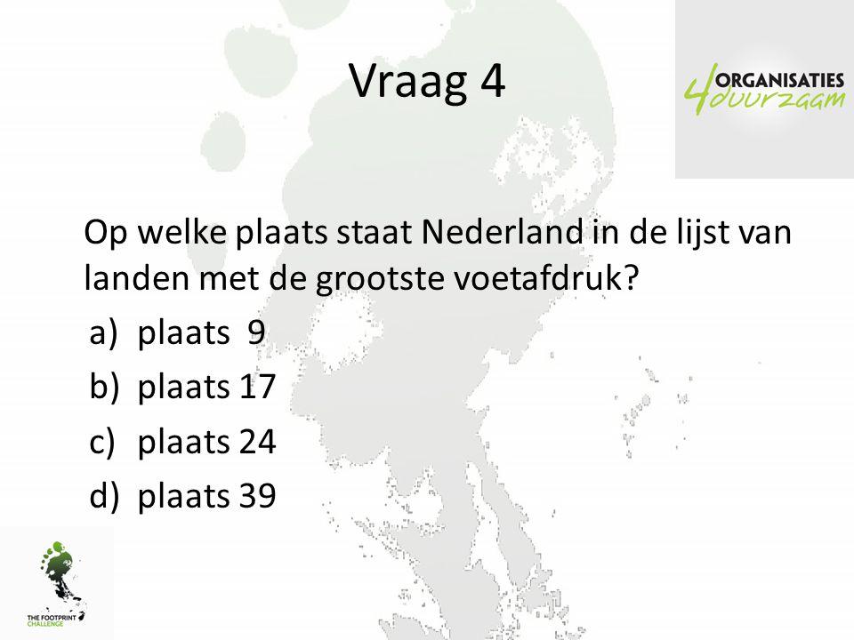 Vraag 4 Op welke plaats staat Nederland in de lijst van landen met de grootste voetafdruk plaats 9.