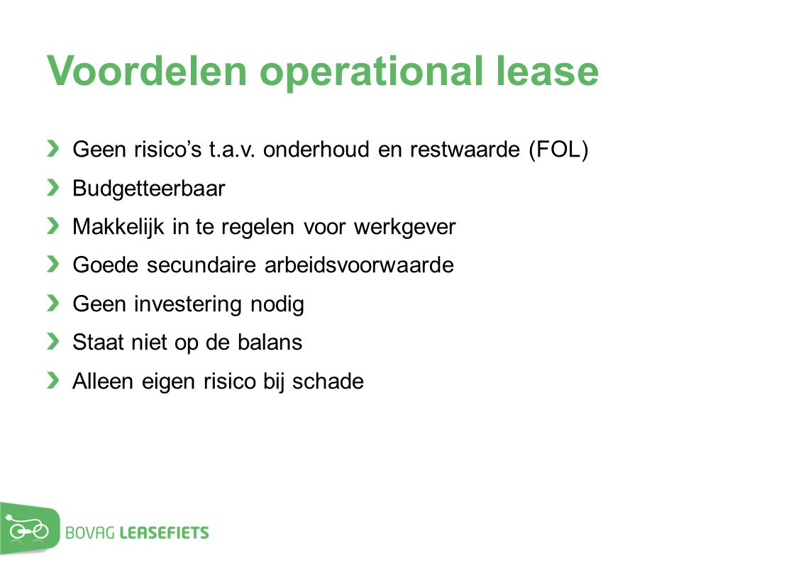 Voordelen operational lease