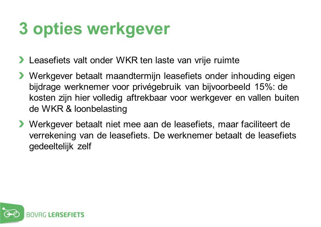 3 opties werkgever Leasefiets valt onder WKR ten laste van vrije ruimte.
