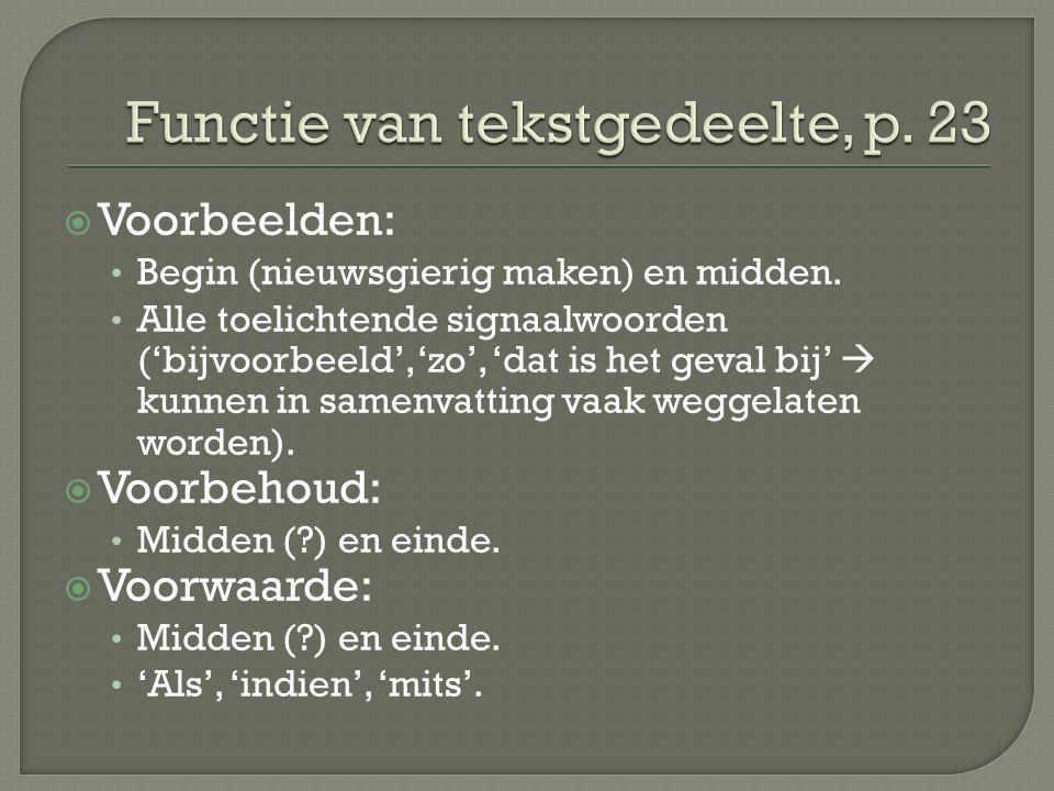 Functie van tekstgedeelte, p. 23