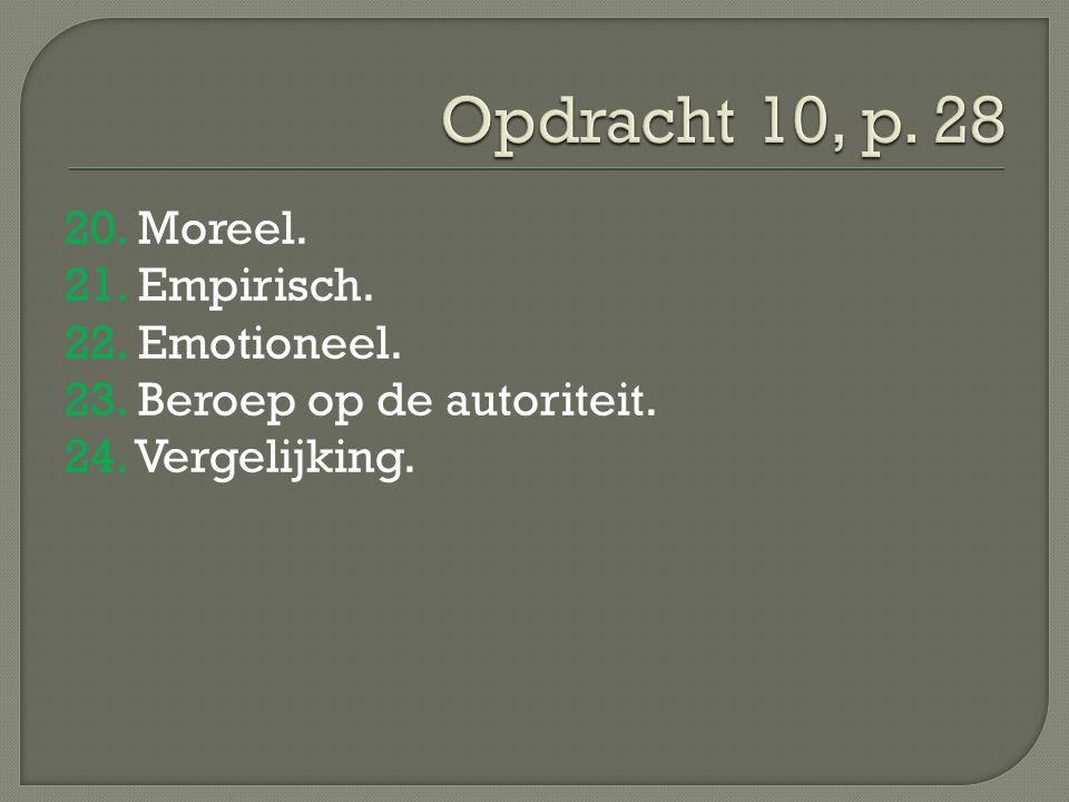 Opdracht 10, p. 28 20. Moreel. 21. Empirisch. 22.
