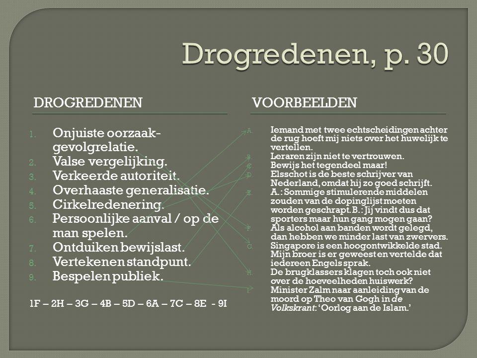 Drogredenen, p. 30 Drogredenen Voorbeelden