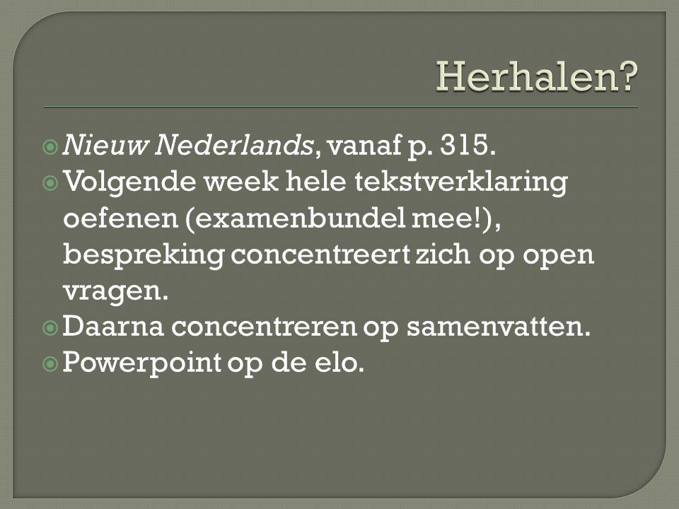 Herhalen Nieuw Nederlands, vanaf p. 315.