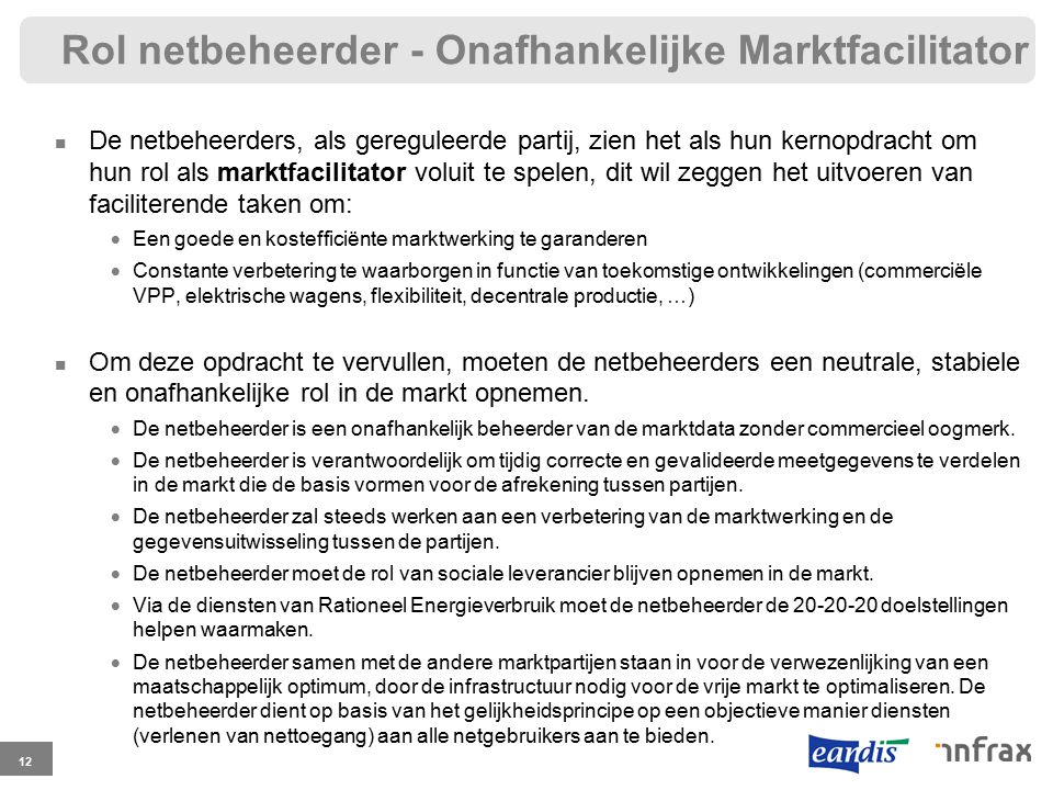 Rol netbeheerder - Onafhankelijke Marktfacilitator