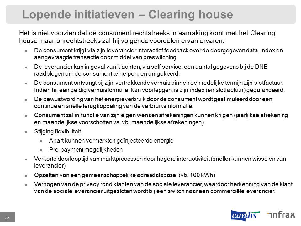 Lopende initiatieven – Clearing house