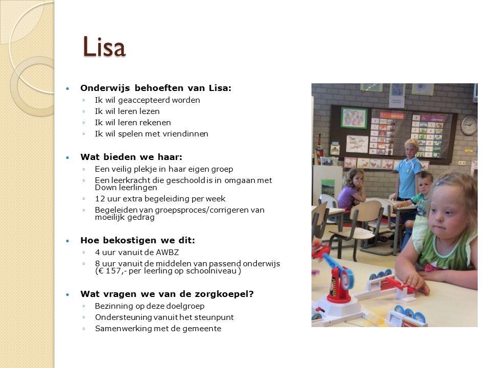 Lisa Onderwijs behoeften van Lisa: Wat bieden we haar:
