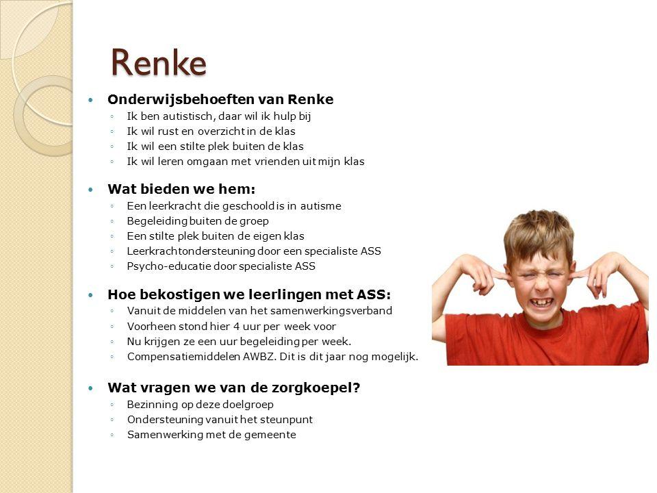 Renke Onderwijsbehoeften van Renke Wat bieden we hem: