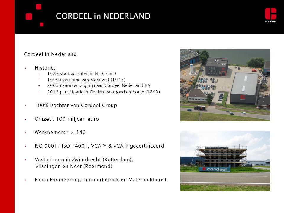 CORDEEL in NEDERLAND Cordeel in Nederland Historie: