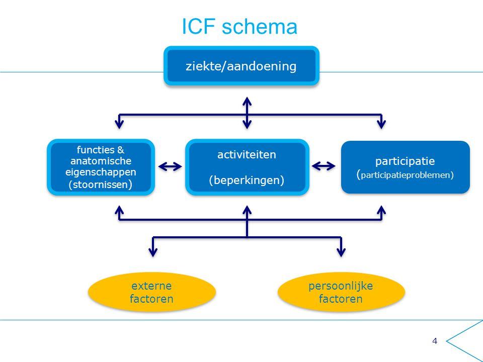 ICF schema ziekte/aandoening activiteiten (beperkingen) participatie