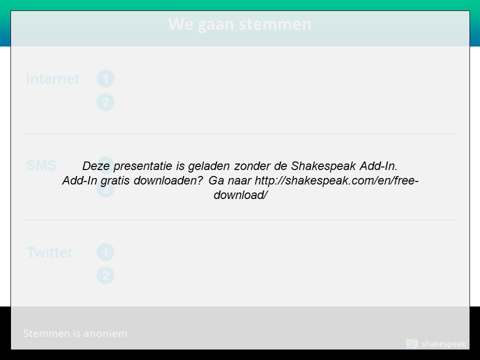 Deze presentatie is geladen zonder de Shakespeak Add-In.