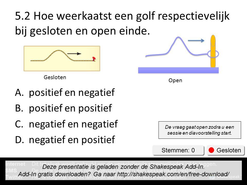 5.2 Hoe weerkaatst een golf respectievelijk bij gesloten en open einde.
