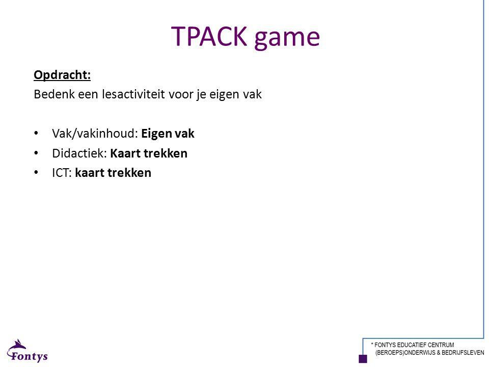TPACK game Opdracht: Bedenk een lesactiviteit voor je eigen vak