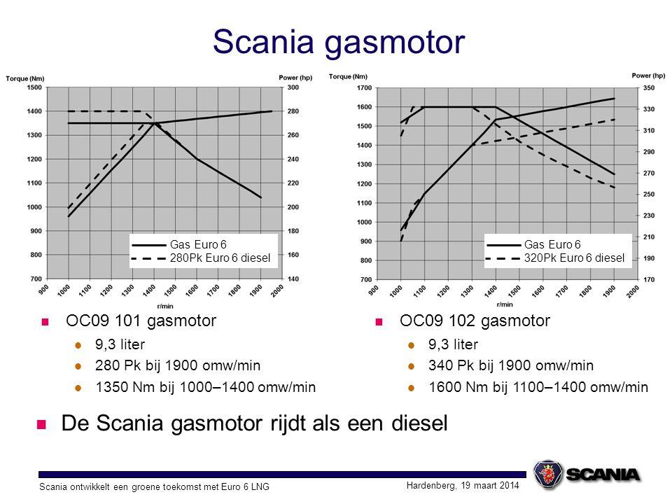 Scania gasmotor De Scania gasmotor rijdt als een diesel