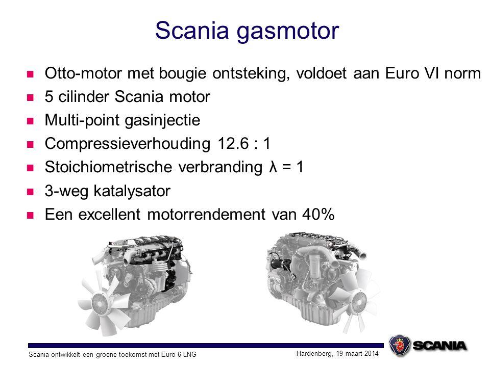 Scania gasmotor Otto-motor met bougie ontsteking, voldoet aan Euro VI norm. 5 cilinder Scania motor.
