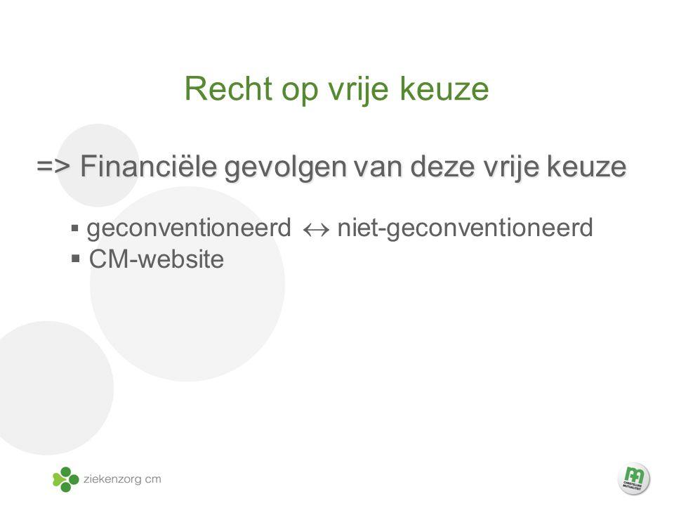 Recht op vrije keuze => Financiële gevolgen van deze vrije keuze