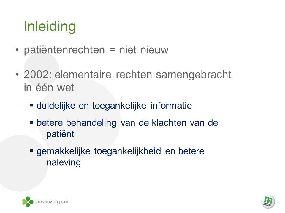 Inleiding patiëntenrechten = niet nieuw
