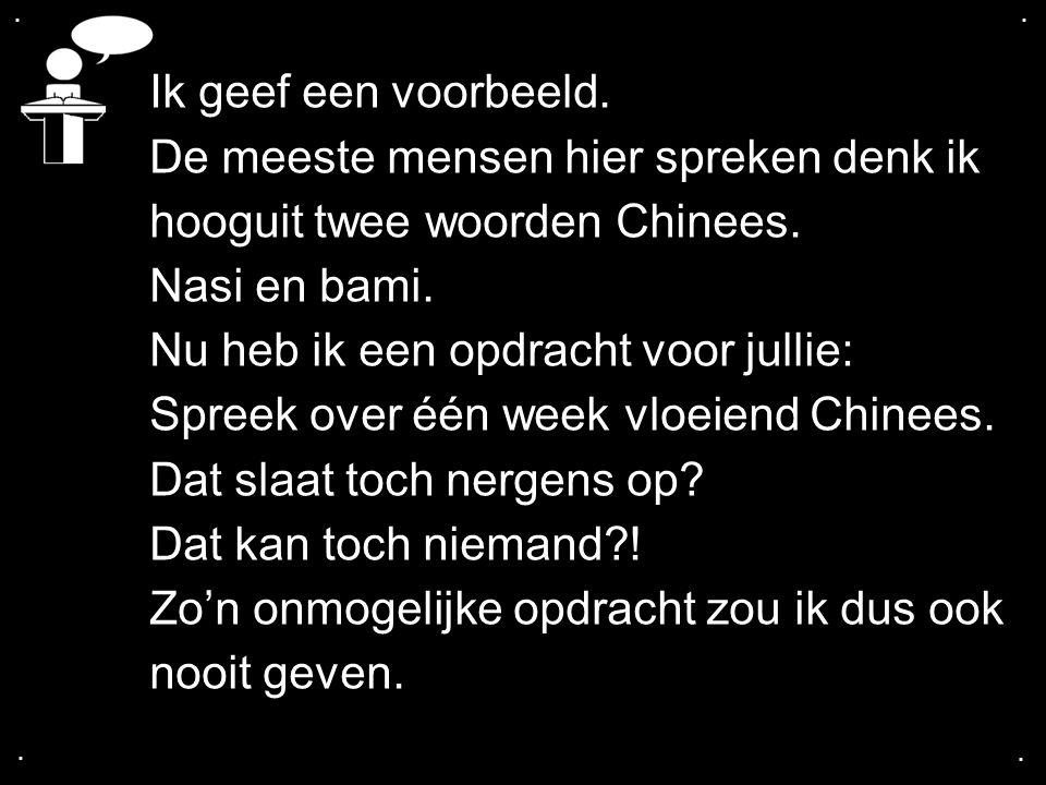 De meeste mensen hier spreken denk ik hooguit twee woorden Chinees.