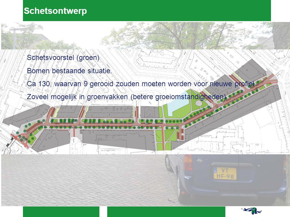 Schetsontwerp Schetsvoorstel (groen) Bomen bestaande situatie.