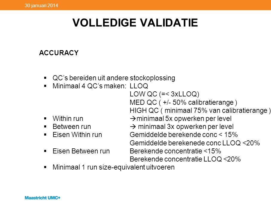 VOLLEDIGE VALIDATIE ACCURACY QC's bereiden uit andere stockoplossing