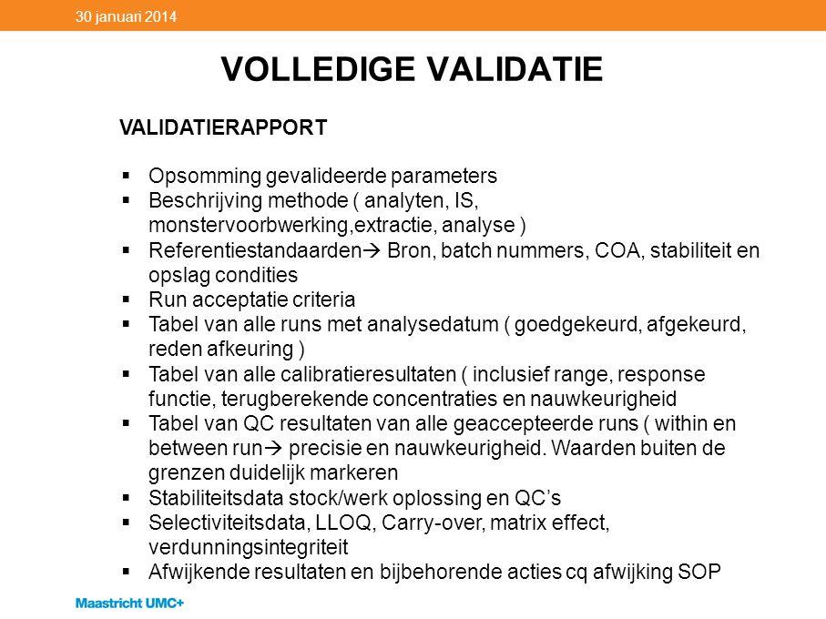 VOLLEDIGE VALIDATIE VALIDATIERAPPORT Opsomming gevalideerde parameters