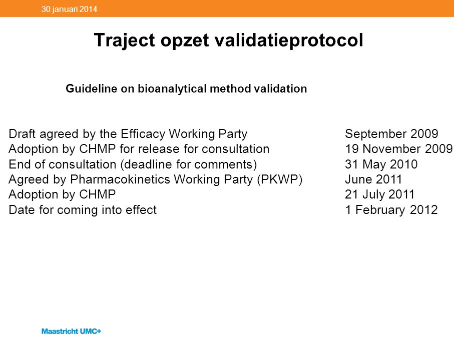 Traject opzet validatieprotocol