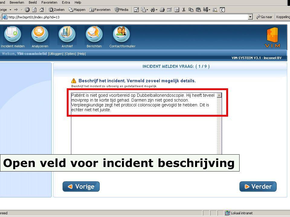 Open veld voor incident beschrijving