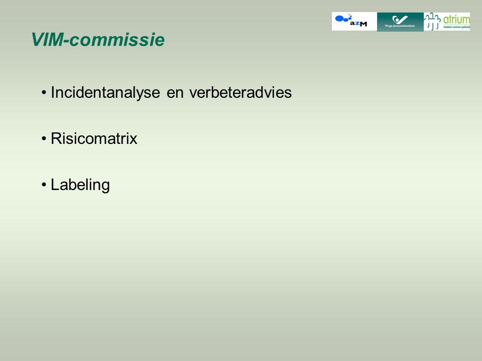 VIM-commissie Incidentanalyse en verbeteradvies Risicomatrix Labeling