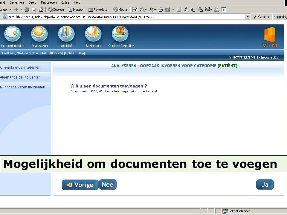 Mogelijkheid om documenten toe te voegen