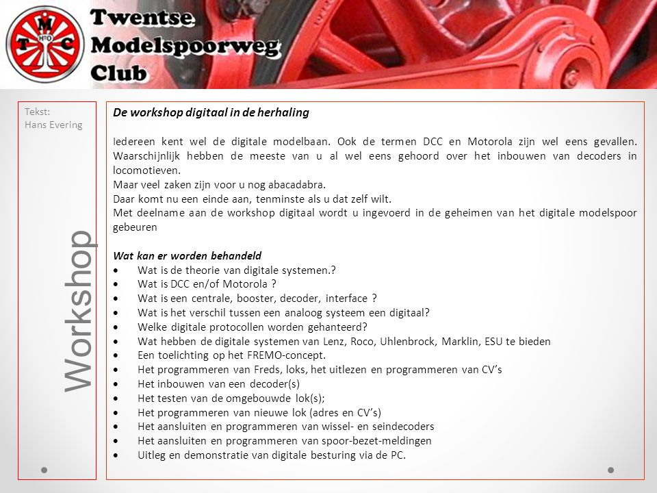 Workshop De workshop digitaal in de herhaling