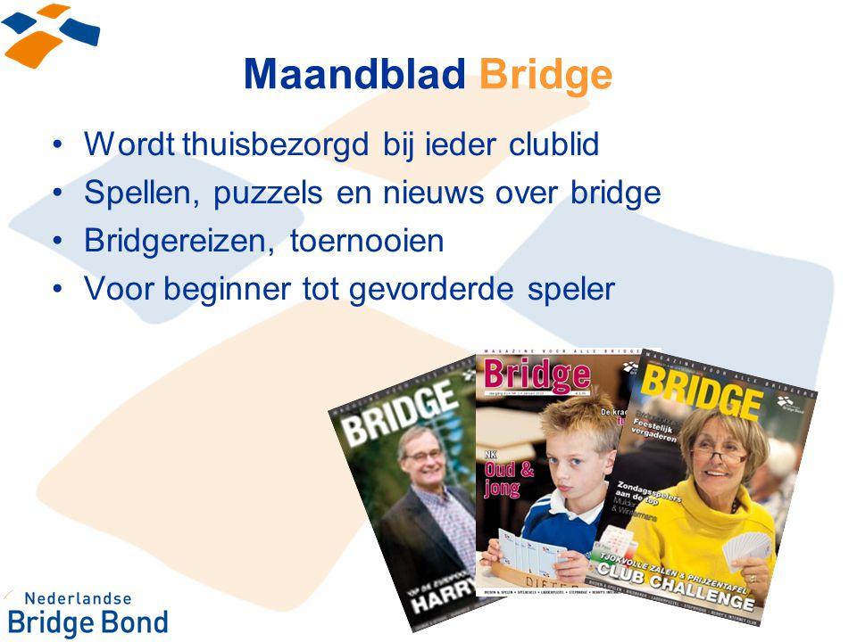 Maandblad Bridge Wordt thuisbezorgd bij ieder clublid
