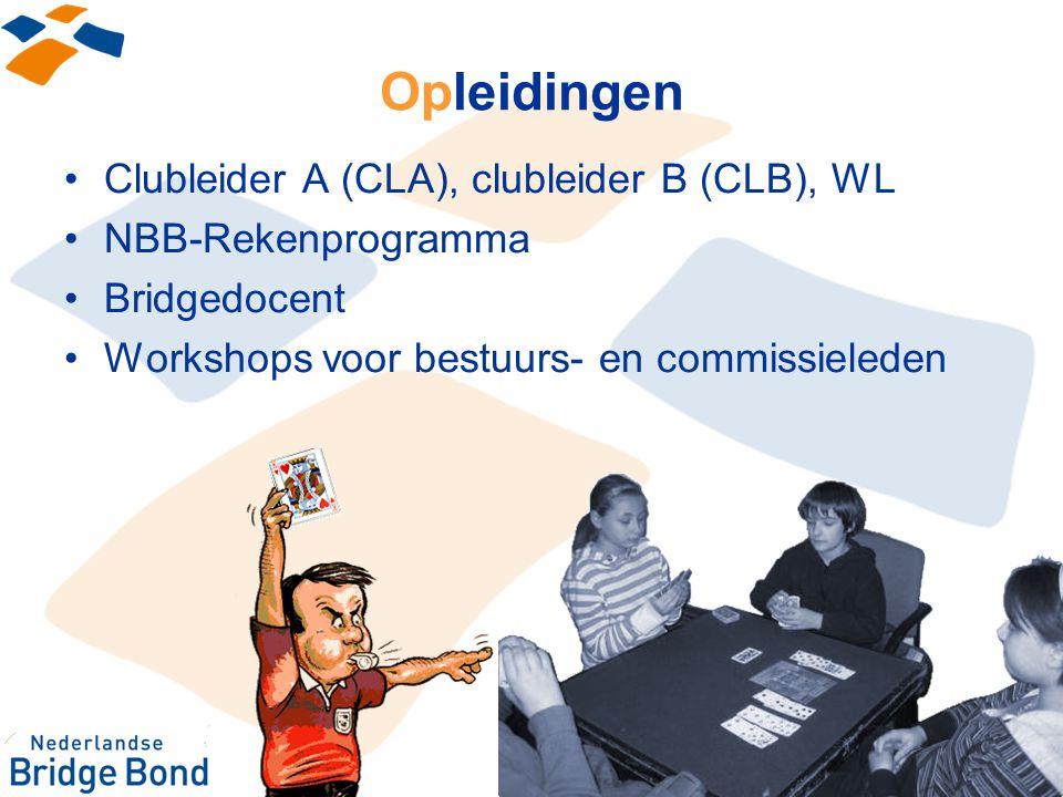 Opleidingen Clubleider A (CLA), clubleider B (CLB), WL