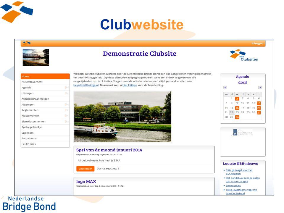 Clubwebsite Eigen clubwebsite via de NBB