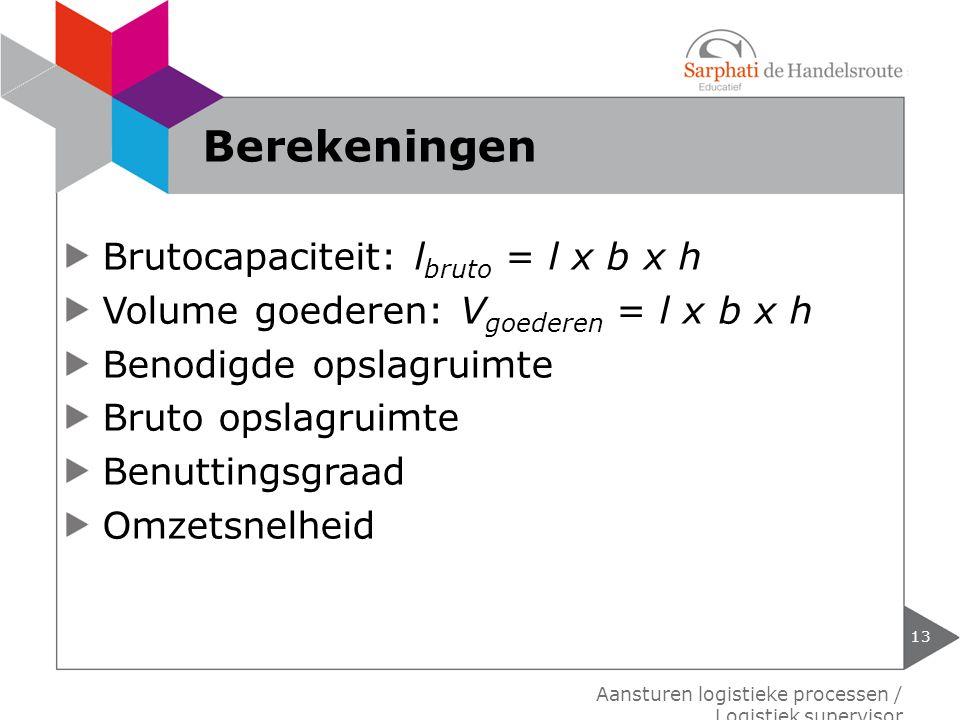 Berekeningen Brutocapaciteit: lbruto = l x b x h