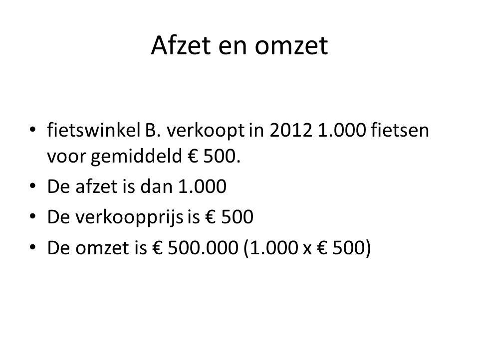 Afzet en omzet fietswinkel B. verkoopt in 2012 1.000 fietsen voor gemiddeld € 500. De afzet is dan 1.000.