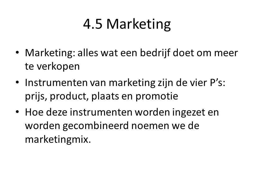 4.5 Marketing Marketing: alles wat een bedrijf doet om meer te verkopen.