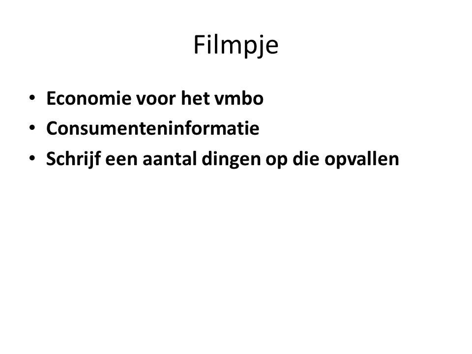 Filmpje Economie voor het vmbo Consumenteninformatie