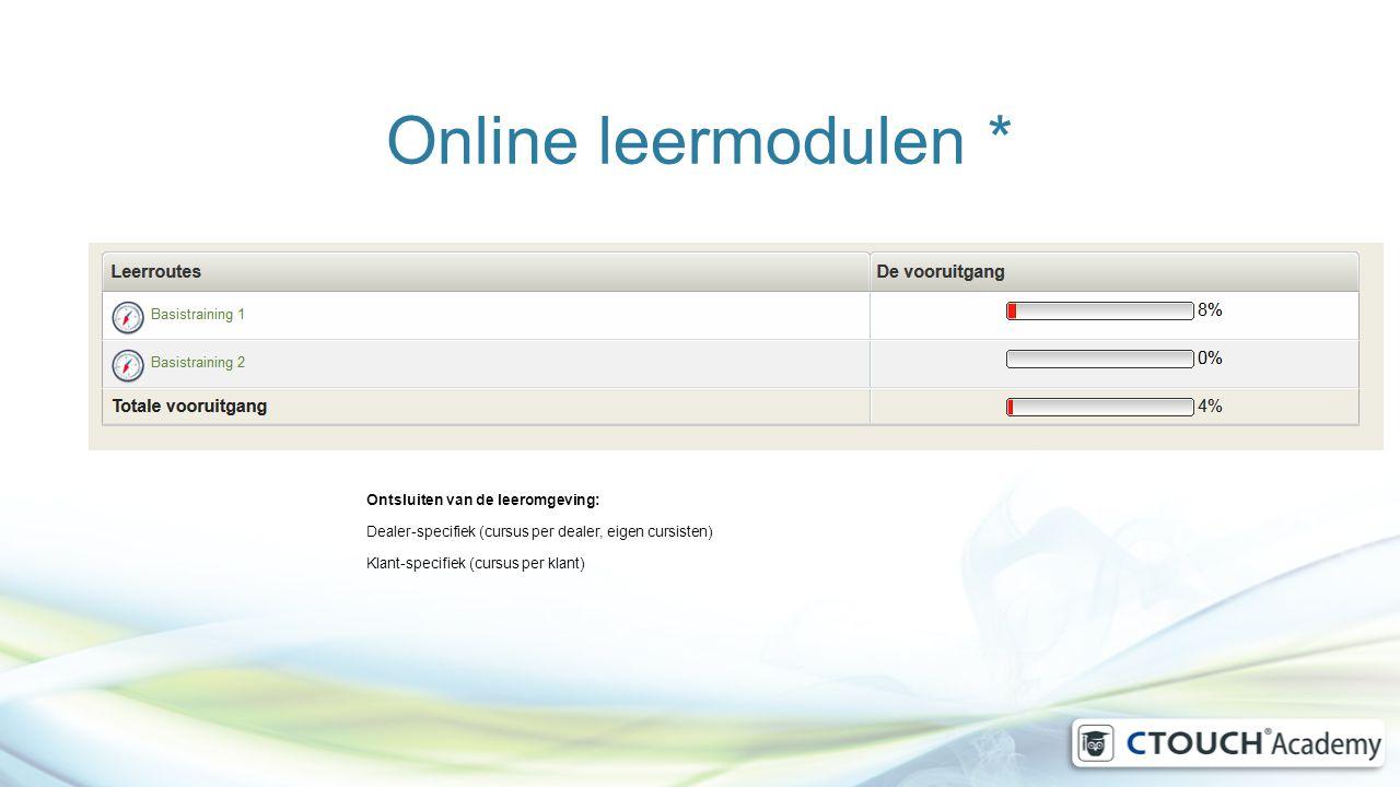 Online leermodulen * Ontsluiten van de leeromgeving: