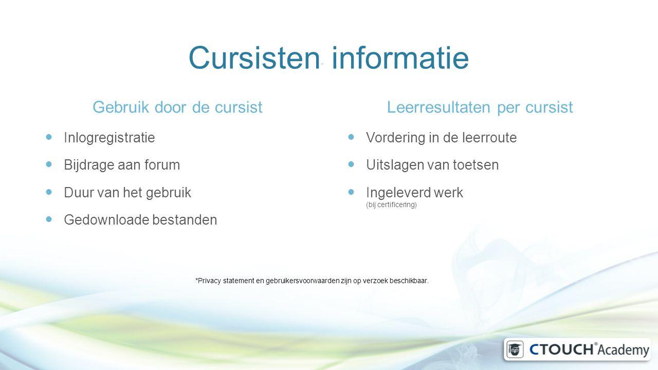 Cursisten* informatie