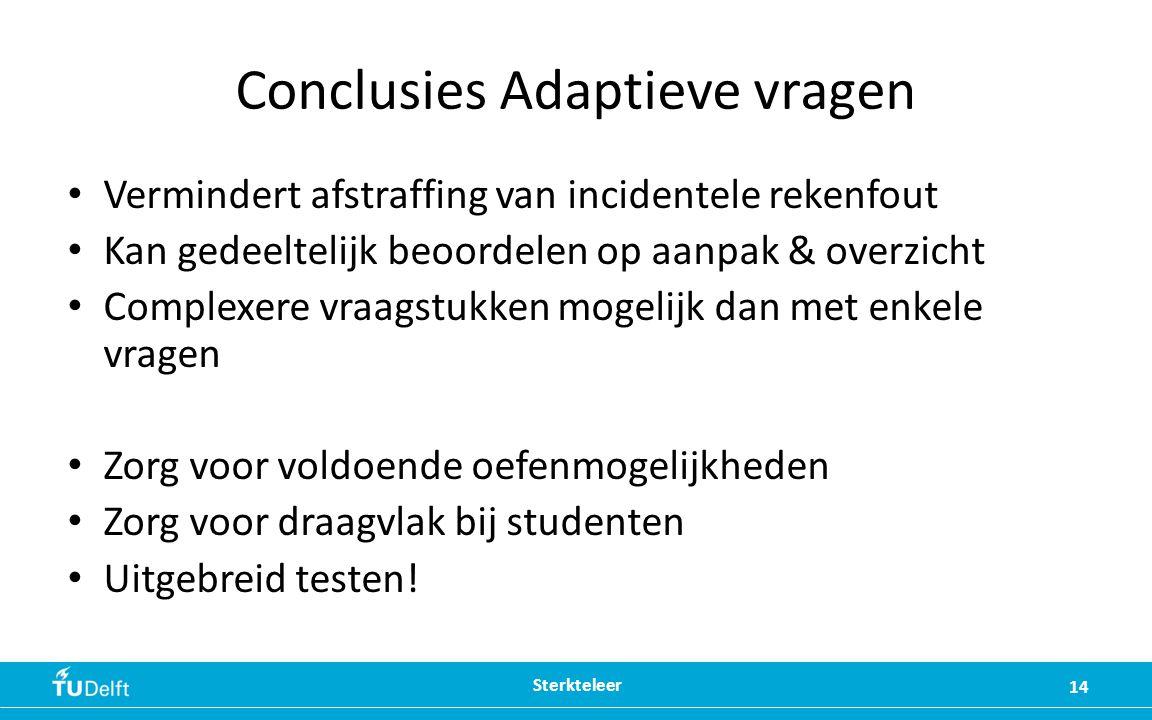Conclusies Adaptieve vragen