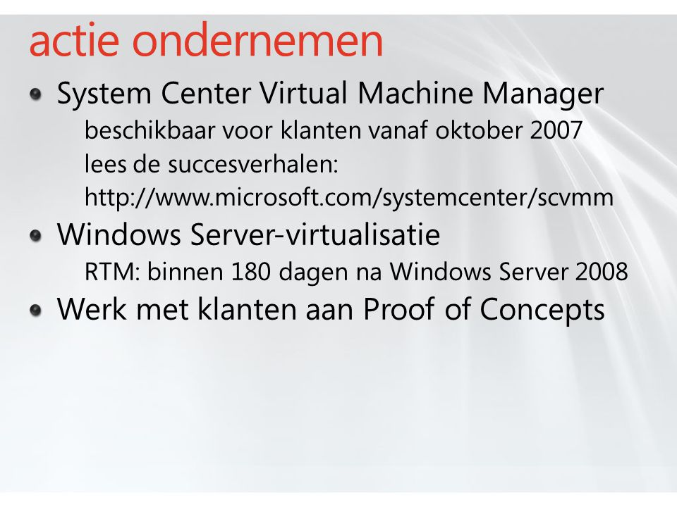 actie ondernemen System Center Virtual Machine Manager