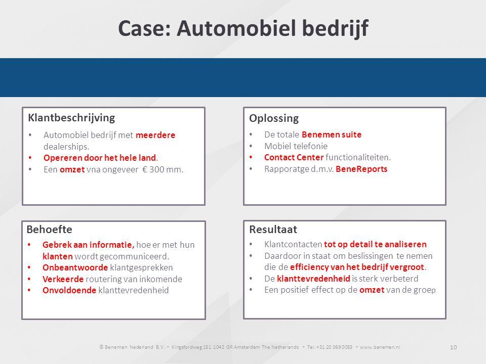 Case: Automobiel bedrijf