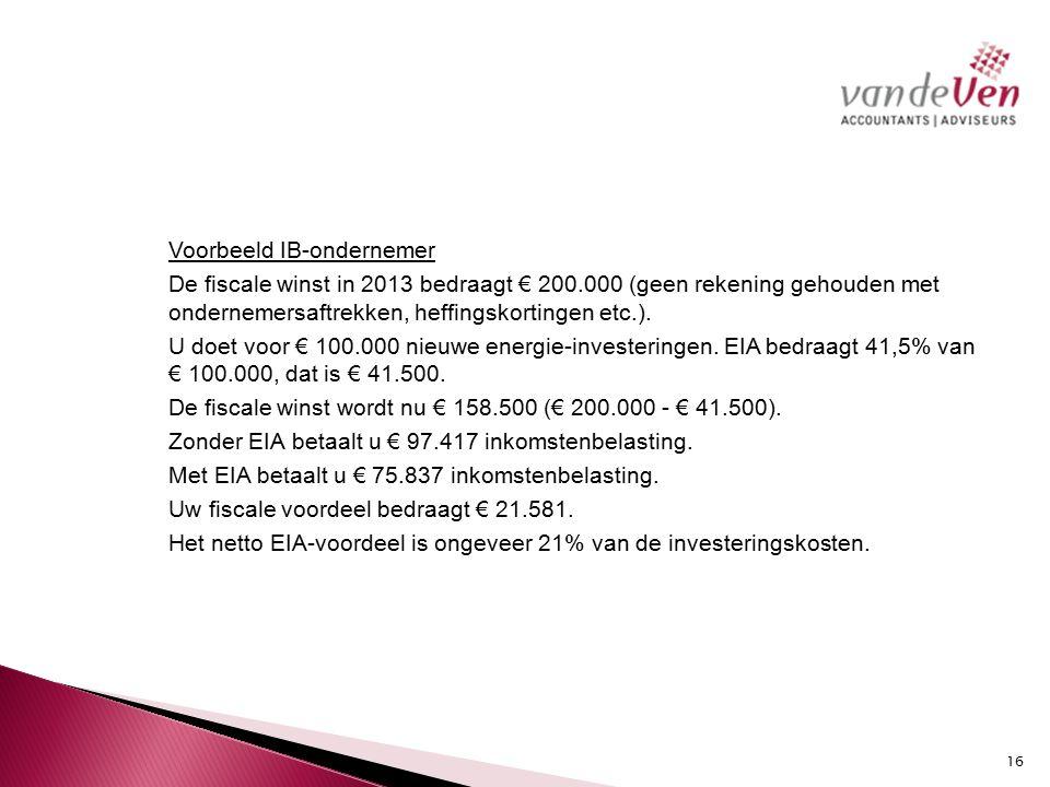 Voorbeeld IB-ondernemer De fiscale winst in 2013 bedraagt € 200