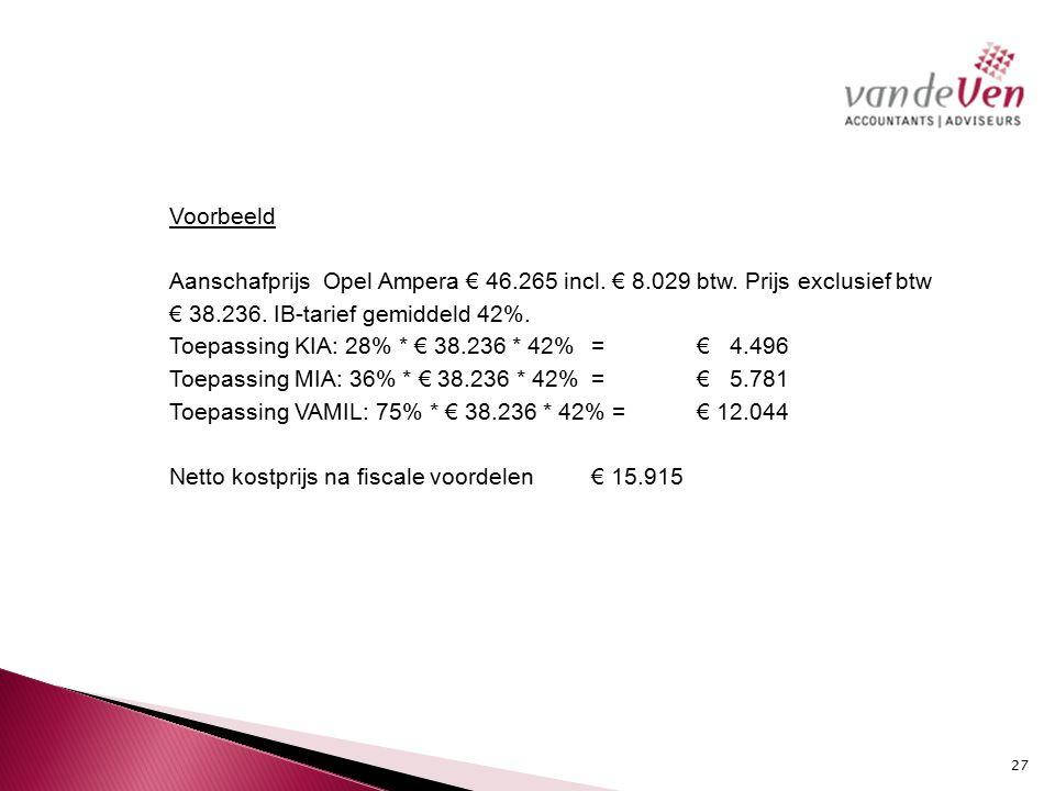 Voorbeeld Aanschafprijs Opel Ampera € 46. 265 incl. € 8. 029 btw